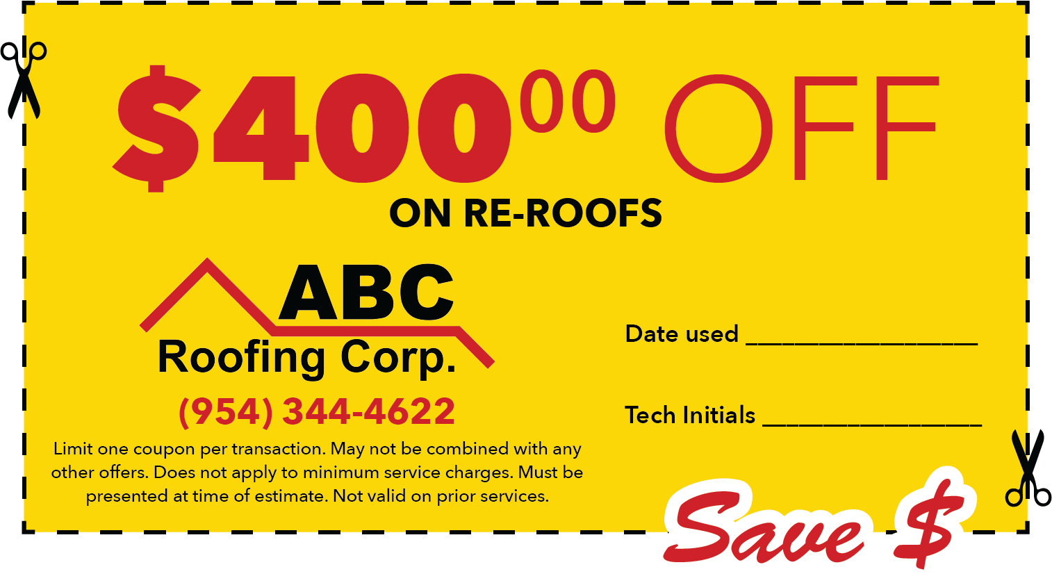 $400 off re-roofs